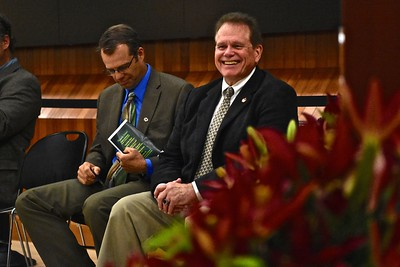 Humboldt County Office of Education Superintendent Chris Hartley and retired Superintendent Garry Eagles sat together for the graduation. (José Quezada—For the Times-Standard)