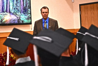 County Superintendent Chris Hartley spoke to graduates. (José Quezada—For the Times-Standard)
