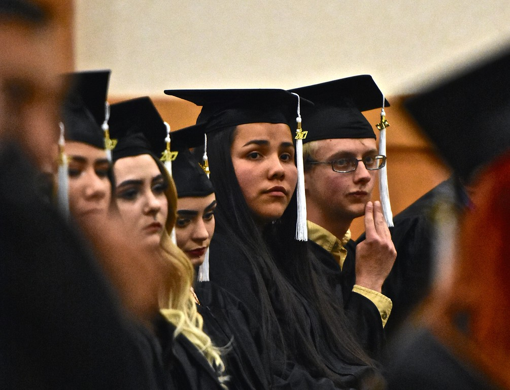 . Serious faces listen to retired superintendent Garry Eagles.  (José Quezada�For the Times-Standard)