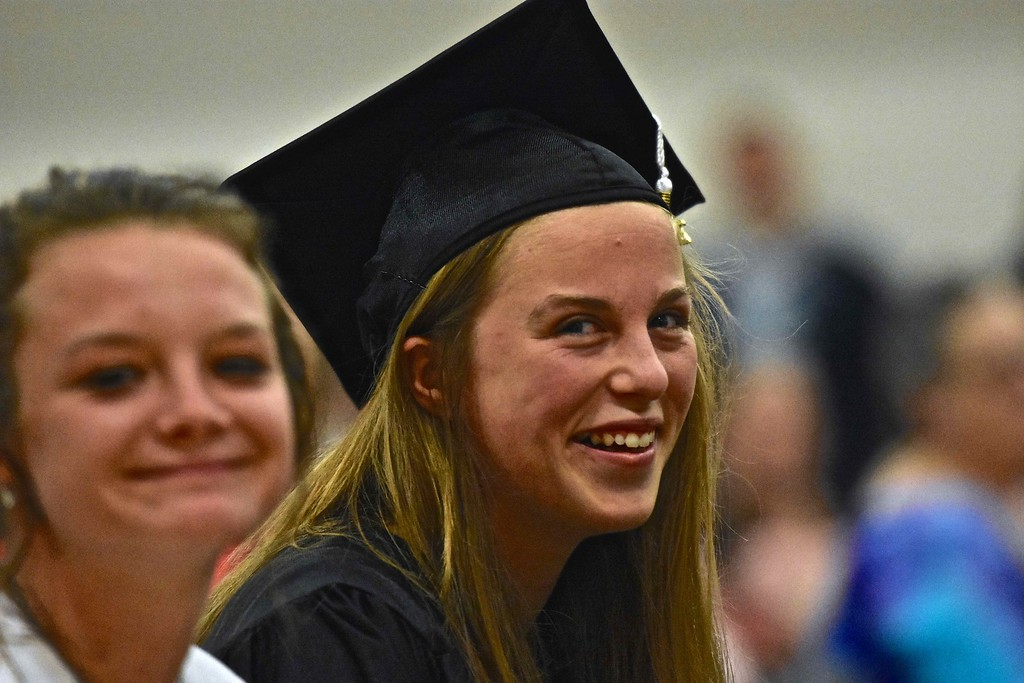 . Felicia Marie Garza of Von Humboldt High School smiles after getting her diploma.  (José Quezada�For the Times-Standard)