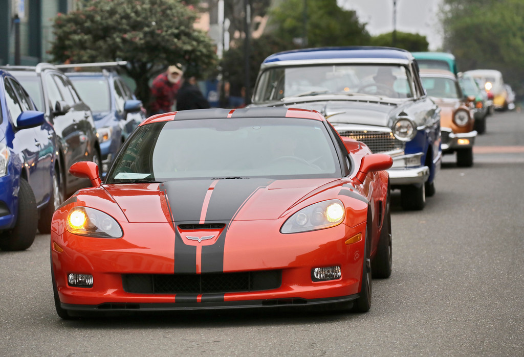 . Shaun Walker � The Times-Standard  A Corvette is followed by a Hudson down Second Street during the Cruz\'n Eureka cruise through Old Town on Friday evening. The Boys and Girls Club of the Redwoods fundraising event continues today with the car show on Second from 10 a.m. to 4 p.m.