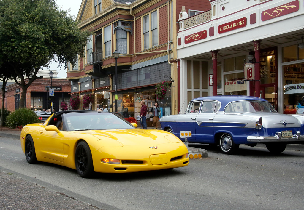 . Shaun Walker � The Times-Standard  A Chevrolet Corvette is passed by a Hudson on Second Street during the Cruz\'n Eureka cruise through Old Town on Friday evening. The Boys and Girls Club of the Redwoods fundraising event continues today with the car show on Second from 10 a.m. to 4 p.m.