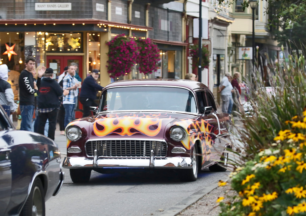 . Shaun Walker � The Times-Standard  A Chevrolet coupe heads down Second Street during the Cruz\'n Eureka cruise through Old Town on Friday evening. The Boys and Girls Club of the Redwoods fundraising event continues today with the car show on Second from 10 a.m. to 4 p.m.