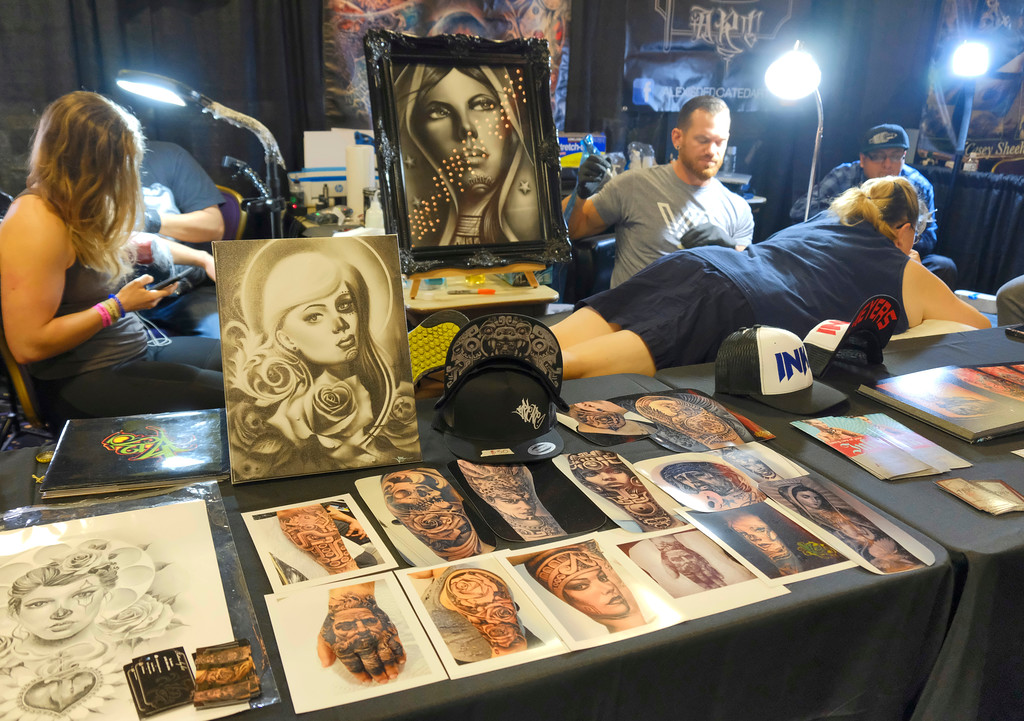 . Shaun Walker � The Times-Standard  The event features more than 30 artists tattooing on-site. Go to InkedHearts.com for more information, including a full list of artists, and the Inked Hearts expo Facebook page features tattoo appointment scheduling.