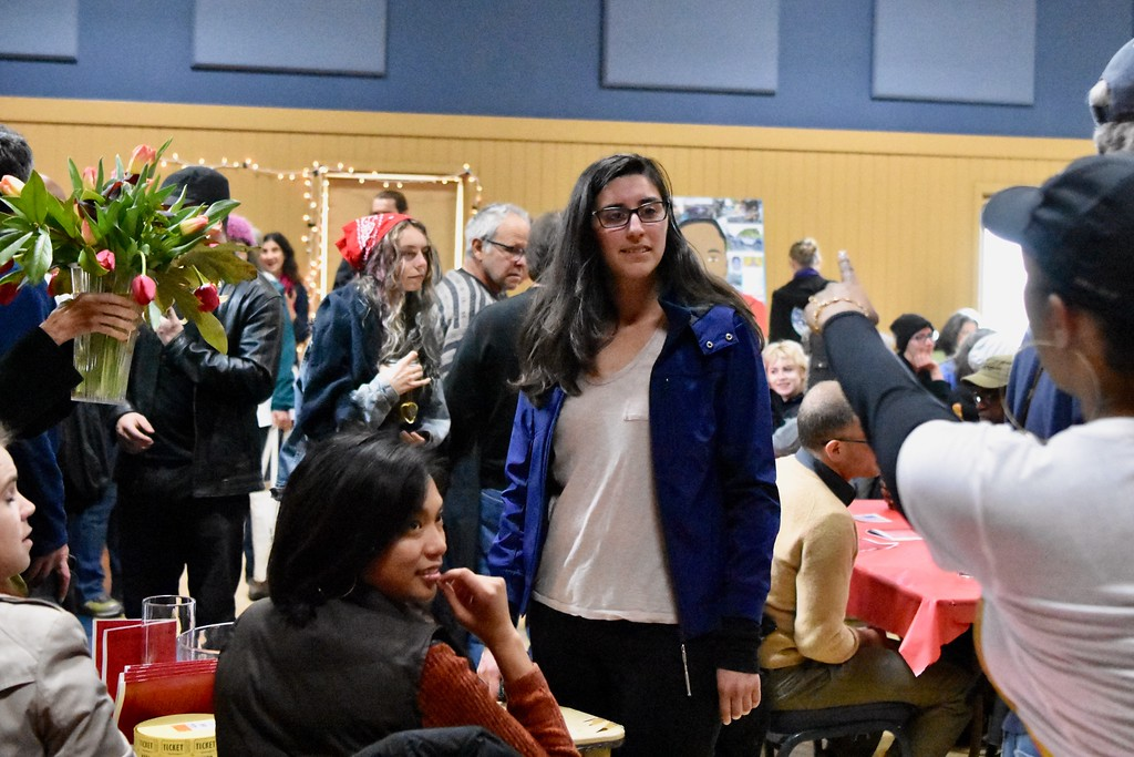 . Arcata Mayor Sofia Pereira pauses as Charmaine Lawson calls her name. José Quezada�For the Times-Standard