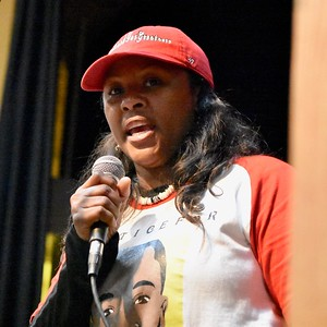 Charmaine Lawson, mother of slain HSU student David Josiah Lawson, speaks at his celebration Sunday. José Quezada—For the Times-Standard