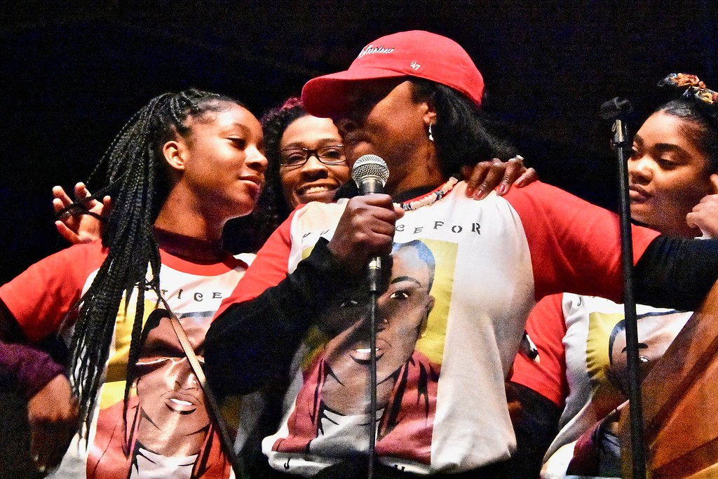 . Chloe Jordan, sister of David Josiah Lawson, comforts her mother Charmaine Lawson as  cousins Keisha Weaver and Monique Mowatt look on from behind. José Quezada�For the Times-Standard