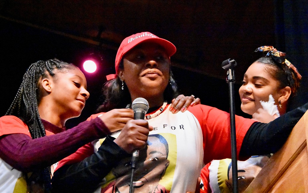 . Chloe Jordan, sister of slain HSU student David Josiah Lawson, comforts her mother Charmaine Lawson as cousin Monique Mowatt looks on from the right. José Quezada�For the Times-Standard