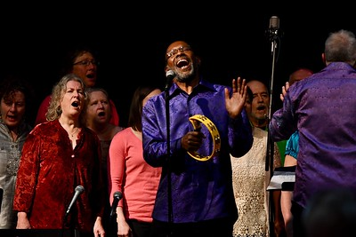 Jeff Thomas leads a spiritual with the Arcata Interfaith Gospel Choir on Sunday afternoon during a celebration of David Josiah Lawson's life. José Quezada—For the Times-Standard