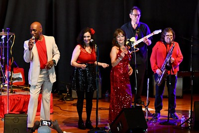 Bishop Mayfield, far left, leads a blues revue with local artists. José Quezada—For Times-Standard