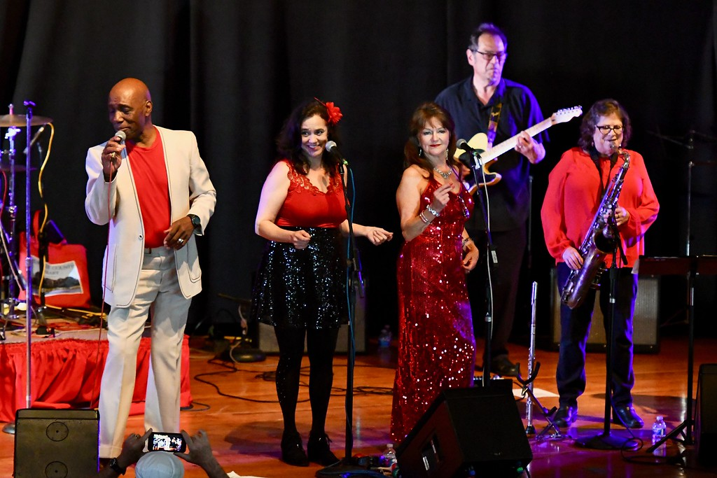 . Bishop Mayfield, far left, leads a blues revue with local artists. José Quezada�For Times-Standard