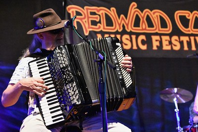 Dennis Hadley on the accordion for Gator Nation on Sunday. José Quezada—For Times-Standard