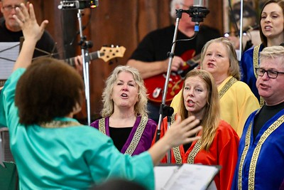 Halimah Collingwood is framed by Assistant Choir Director & Arcata Interfaith Gospel Choir Youth Choir Director Lorenza Simmons-Phillips. José Quezada—For Times-Standard
