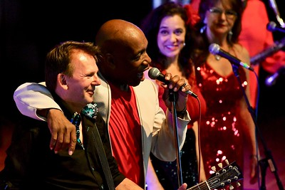 Bishop Mayfield and Dave Storie led off the Blues revue Saturday night. José Quezada—For Times-Standard