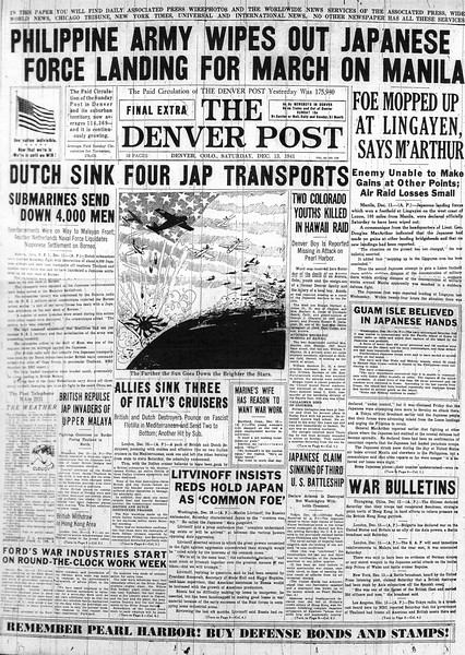The Denver Post Final Extra, Saturday, December 13, 1941. Philippine Army Wipes Out Japanese Force For March On Manila. The Denver post Library Archive