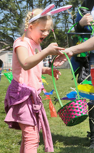 Shaun Walker — The Times-Standard  Jaidyn, 7, reacts to finding eggs at Easter Eggventure in Eureka's Carson Park on Saturday. Children could follow Easter clues, complete challenges, play games, and discover hidden eggs. The Easter Bunny was on hand for photo time. The event was sponsored by the city of Eureka.