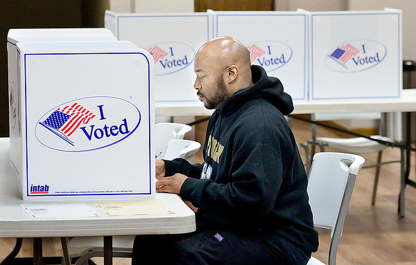 KEVIN HARVISON |<br /> McAlester resident Greg Hall cast his vote early Tuesday morning.