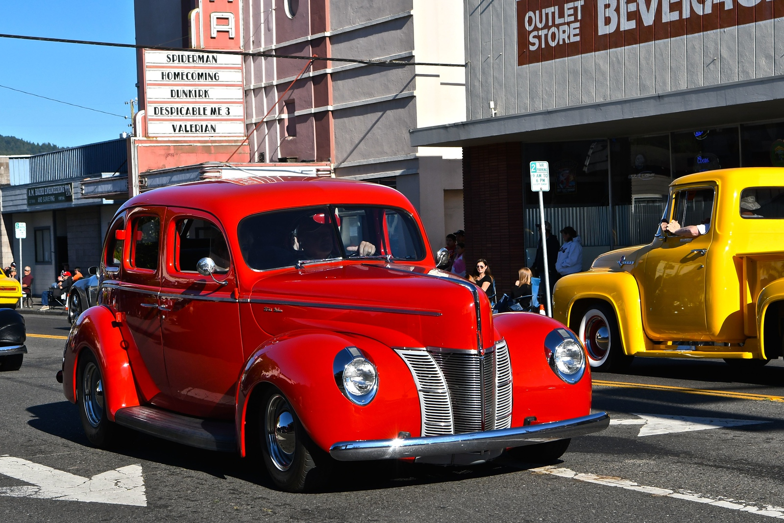 Vintage and classic vehicles went north and south on Main Street fortuna Friday night. José Quezada — For the Times-Standard