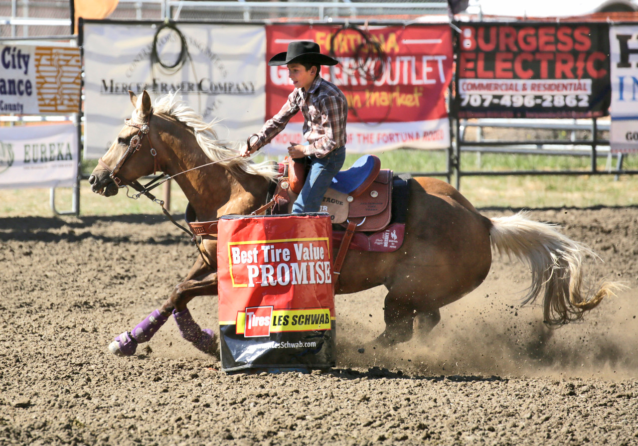 Shaun Walker — The Times-Standard  Jasper Frost of Grenada turns hard during junior junior barrel racing at the 24th-annual Fortuna Junior Rodeo on Wednesday. Thursday features more junior rodeo and carnival action in Rohner Park during the day, fireman's games on Main Street at 6:30 p.m., and adult barrel racing at 7p.m.
