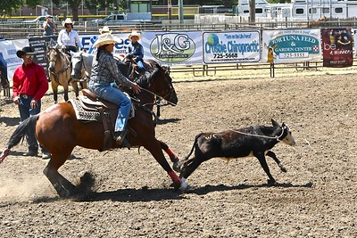 Katie Wemple of Milford throws her rope in the calf roping event. José Quezada—For the Times-Standard