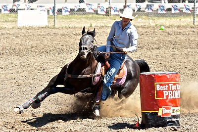 Tea Greene of Susanville is anything but mellow on this barrel racing turn. José Quezada—For the Times-Standard