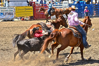 Casey Minton of Witter Springs leaps off his horse to try to wrangle a steer to the ground. José Quezada—For the Times-Standard