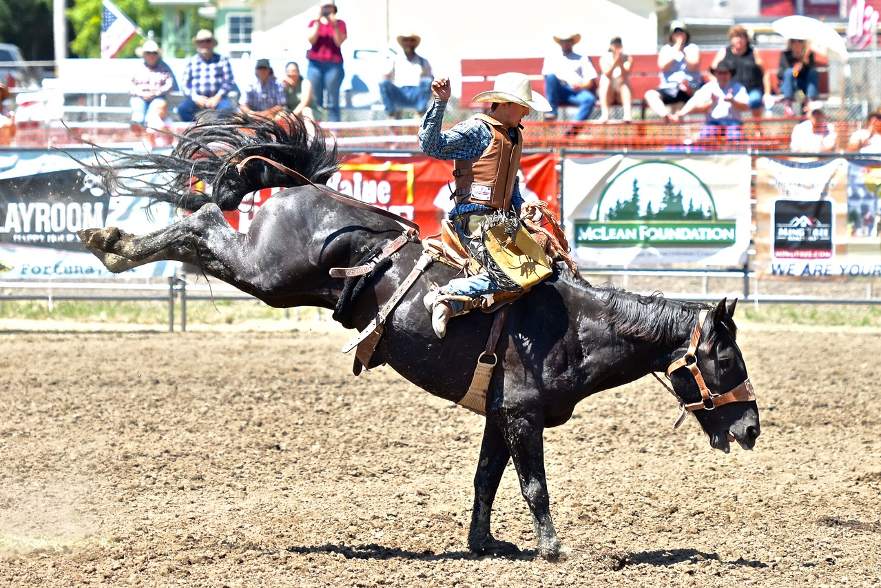 Quentin McWhorter of Petrolia stretches out his bronc riding ride. José Quezada—For the Times-Standard