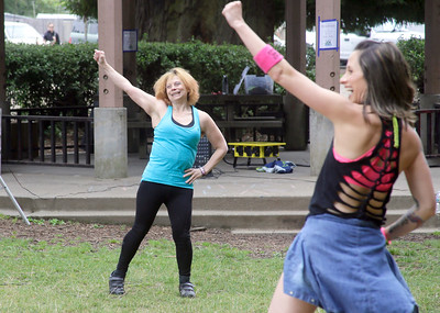 Shaun Walker — The Times-Standard  Renee McNutt leads a Zumba session in Sequoia Park during Eureka's Get Out and Play Day on Saturday. The city-wide event featured activities, games, rides, tours, and more for children and adults all over the city.