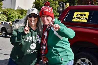 Longtime Humboldt State University athletic supporters and rabid fans Tamara Clohessy and Julie Kelly still consider themselves Number One believers in college athletics. José Quezada—For Times-Standard