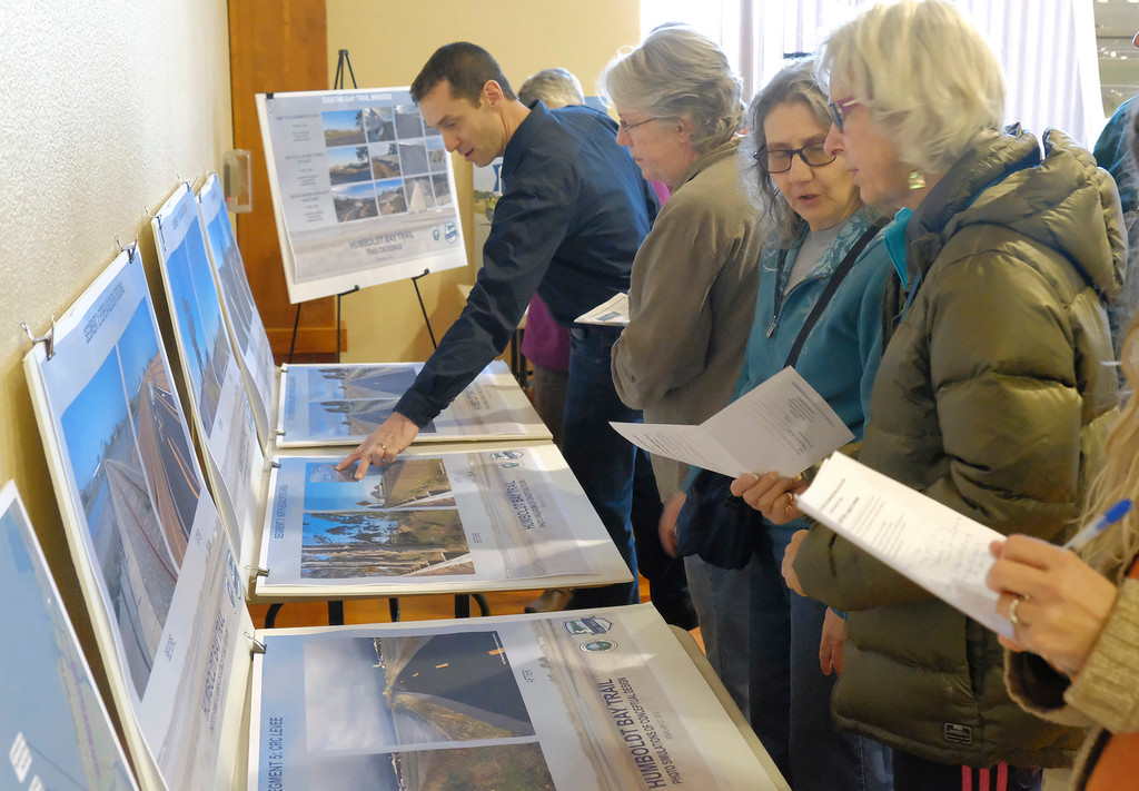 """. Shaun Walker � The Times-Standard  People look at photos, renderings, and maps at a public meeting to discuss the plan to complete the Humboldt Bay Trail between Eureka and Arcata at the Eureka\'s Wharfinger Building on Tuesday. Humboldt County planners invited the community to see the current project design, learn about the strategy for completion, and provide suggestions for improvements. The county is leading the development of the �Humboldt Bay Trail South� project to construct the 4.2-mile link between the two trail projects recently completed by the cities of Arcata and Eureka. The county is \""""committed to designing the project in a way that integrates with adjacent land use, minimizes environmental impacts, meets transportation safety goals, and maintains resilience to flooding hazards and sea level rise,\"""" said county Public Works Deputy-Director Hank Seemann in a press release."""