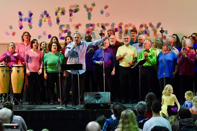 Louis Hoiland leads the Arcata Interfaith Gospel Choir at the Bowl of Beans event. José Quezada—For Times-Standard