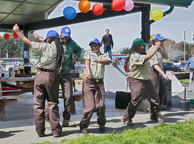 Shaun Walker — The Times-Standard  Fortuna California Conservation Corps members do the CCC-created BioBlitz Dance at the Humboldt Steelhead Days carnival in McKinleyville on Saturday.