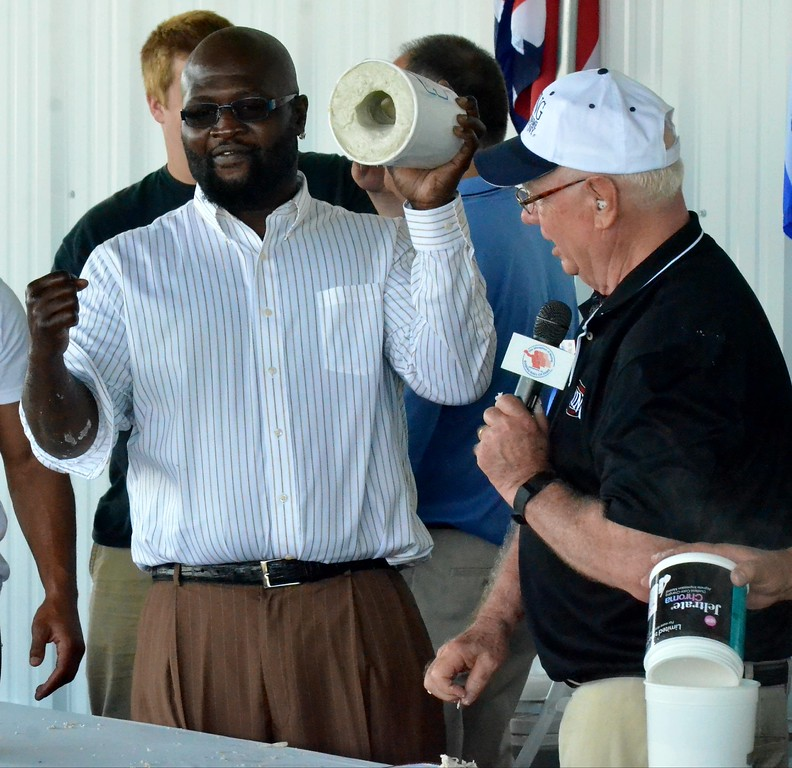 . KYLE MENNIG - ONEIDA DAILY DISPATCH James Toney displays the mold that will be used to cast his fist during the 28th annual Induction Weekend at the International Boxing Hall of Fame in Canastota on Friday, June 9, 2017.