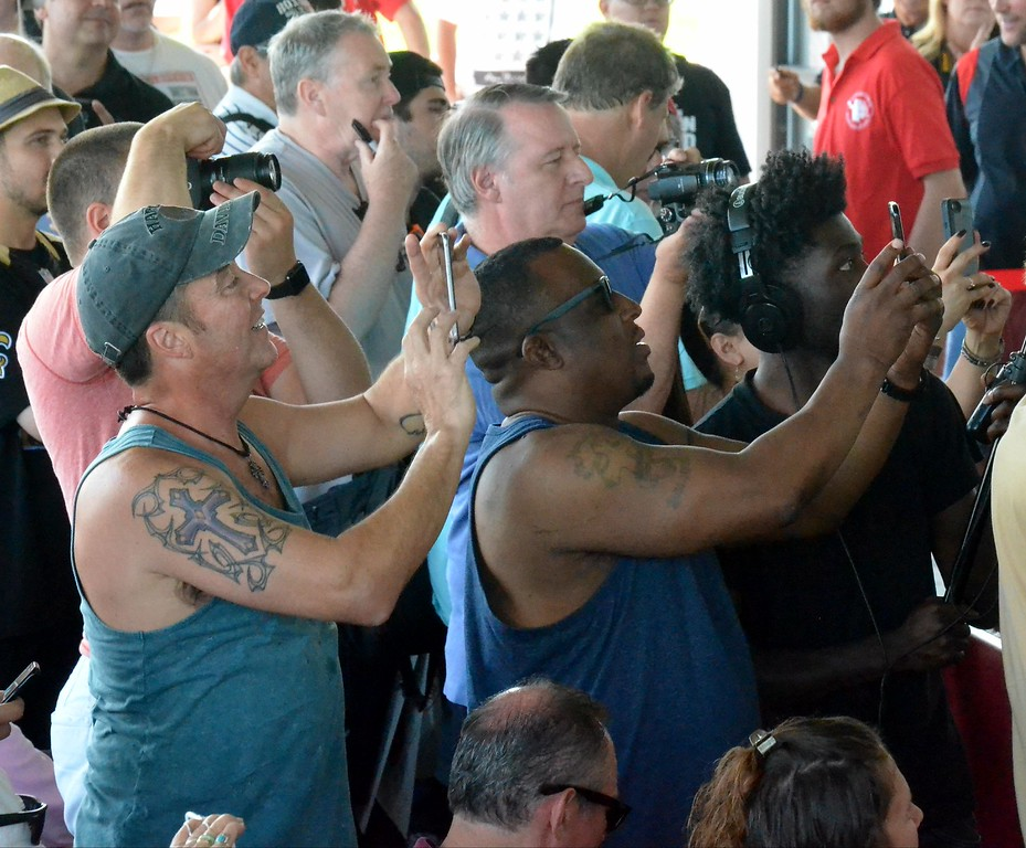 . KYLE MENNIG - ONEIDA DAILY DISPATCH Fans take pictures at the fist casting ceremony during the 28th annual Induction Weekend at the International Boxing Hall of Fame in Canastota on Friday, June 9, 2017.