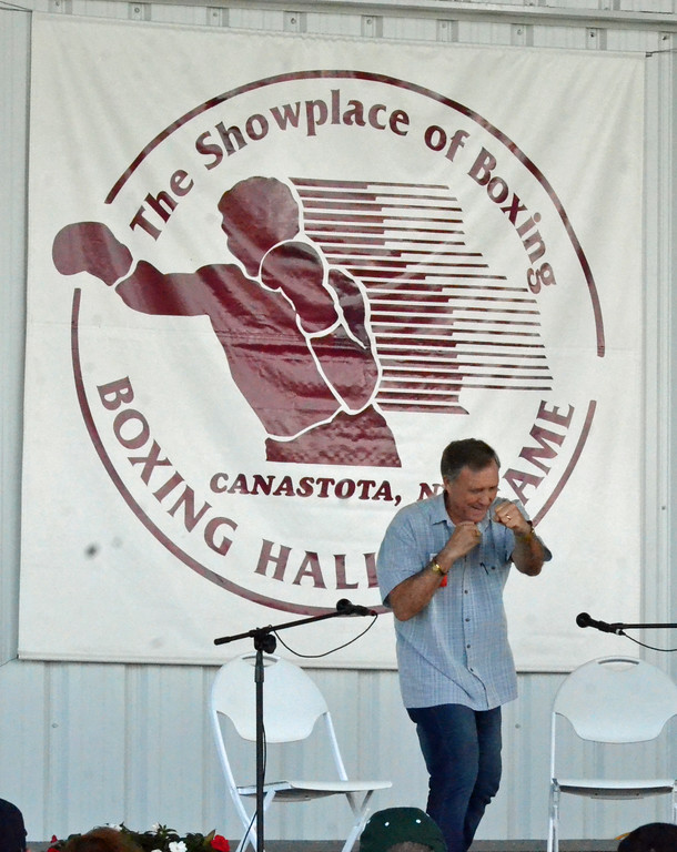 . KYLE MENNIG � ONEIDA DAILY DISPATCH John H. Stracey gives a ringside lecture during the International Boxing Hall of Fame\'s 28th annual Induction Weekend in Canastota on Thursday, June 8, 2017.