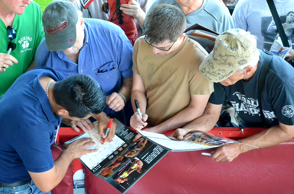 . KYLE MENNIG - ONEIDA DAILY DISPATCH Marco Antonio Barrera signs autographs during the 28th annual Induction Weekend at the International Boxing Hall of Fame in Canastota on Friday, June 9, 2017.