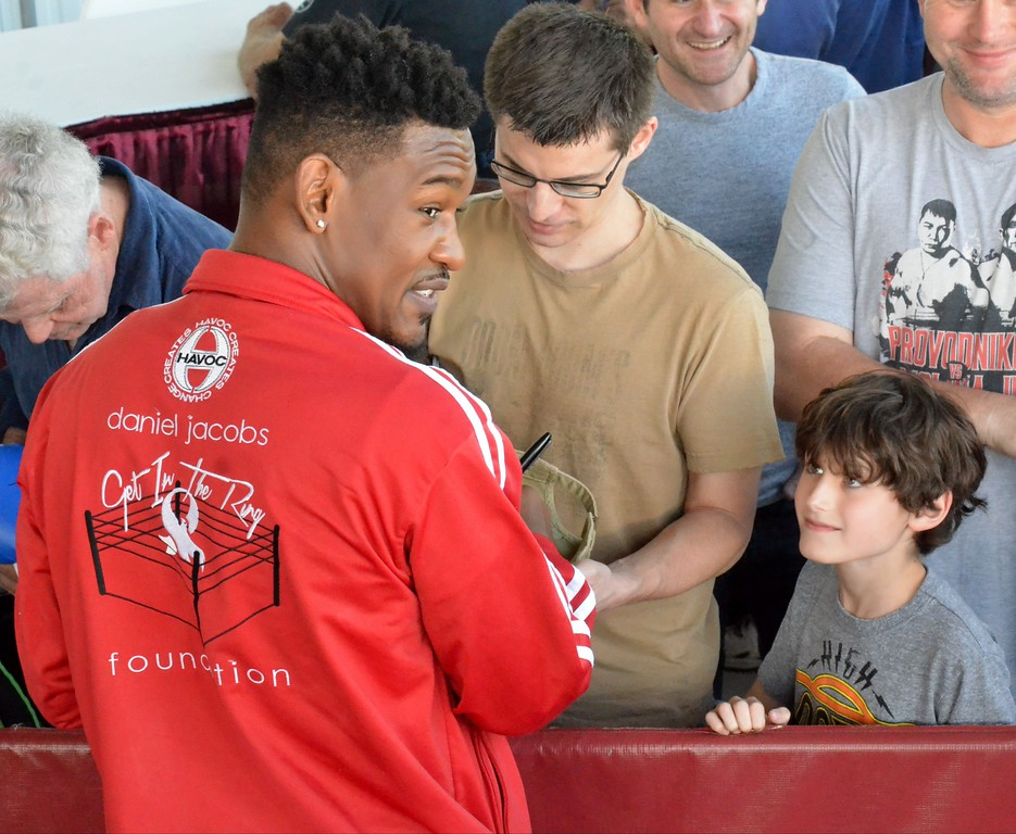 . KYLE MENNIG - ONEIDA DAILY DISPATCH Daniel Jacobs signs autographs during the 28th annual Induction Weekend at the International Boxing Hall of Fame in Canastota on Friday, June 9, 2017.