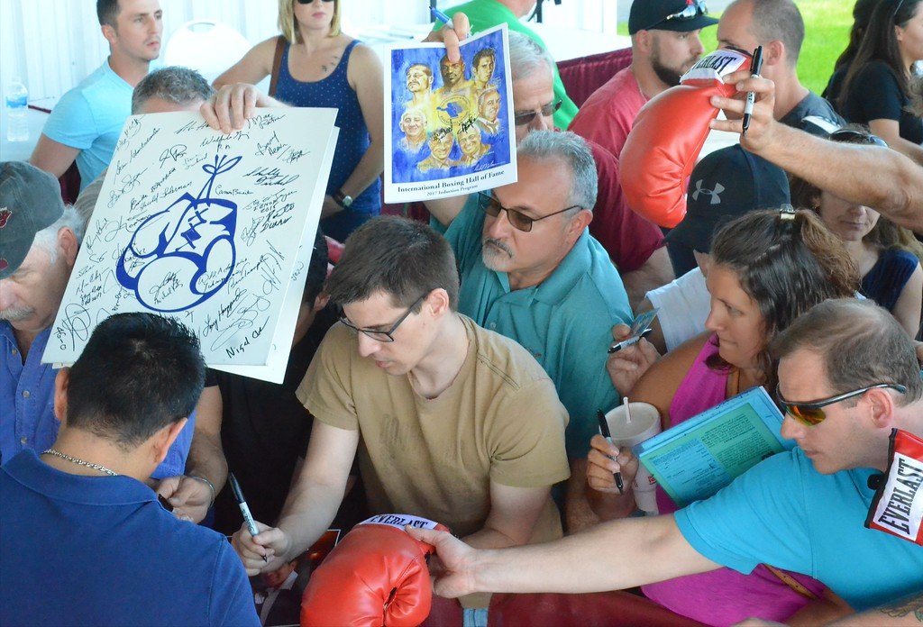 . KYLE MENNIG - ONEIDA DAILY DISPATCH Fans seek autographs from Marco Antonio Barrera during the 28th annual Induction Weekend at the International Boxing Hall of Fame in Canastota on Friday, June 9, 2017.