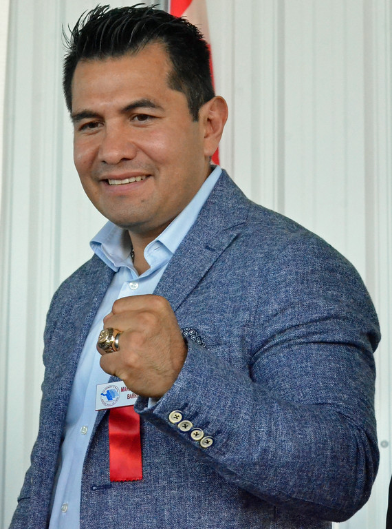 . KYLE MENNIG � ONEIDA DAILY DISPATCH Class of 2017 inductee Marco Antonio Barrera displays his ring following the induction ceremony during the International Boxing Hall of Fame\'s 28th annual Induction Weekend in Canastota on Sunday, June 11, 2017.