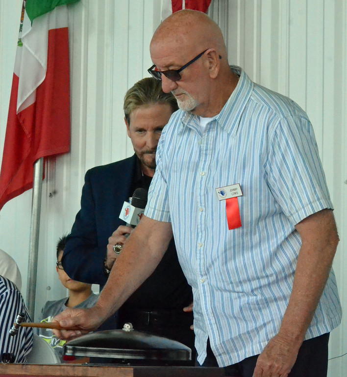 . KYLE MENNIG � ONEIDA DAILY DISPATCH Class of 2017 inductee Jerry Lewis rings the opening bell during the International Boxing Hall of Fame\'s 28th annual Induction Weekend in Canastota on Thursday, June 8, 2017.