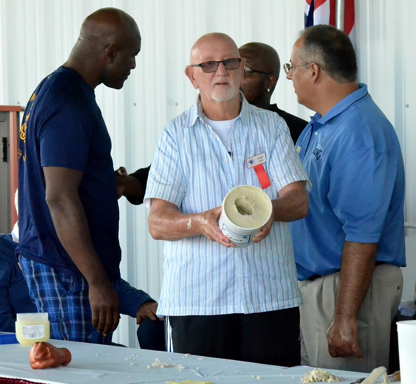 . KYLE MENNIG - ONEIDA DAILY DISPATCH Johnny Lewis displays the mold to cast his fist during the 28th annual Induction Weekend at the International Boxing Hall of Fame in Canastota on Friday, June 9, 2017.