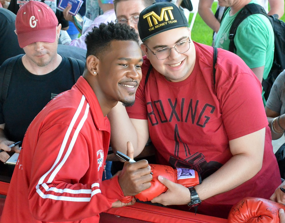 . KYLE MENNIG - ONEIDA DAILY DISPATCH Daniel Jacobs poses for a picture with a fan during the 28th annual Induction Weekend at the International Boxing Hall of Fame in Canastota on Friday, June 9, 2017.