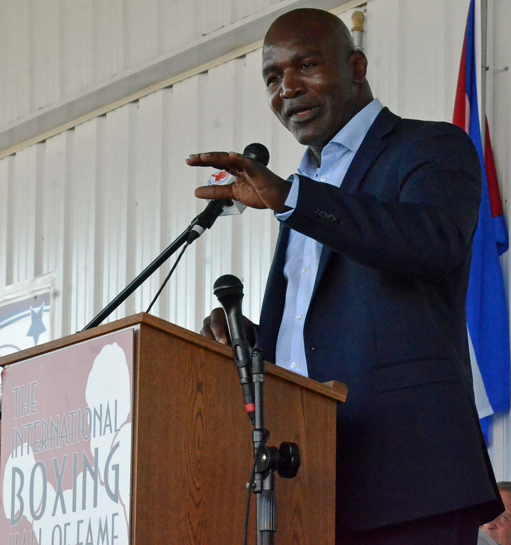 . KYLE MENNIG � ONEIDA DAILY DISPATCH Class of 2017 inductee Evander Holyfield gives his speech at the induction ceremony during the International Boxing Hall of Fame\'s 28th annual Induction Weekend in Canastota on Sunday, June 11, 2017.
