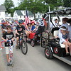 Richard Payerchin - The Morning Journal <br> Numerous children ride behind the pirate cart in the annual Linwood Park 4th of July Parade, held the morning of July 4, 2016. Hundreds of people staying at Linwood Park and from neighboring communities came out for the parade, which organizers said gets bigger every year.