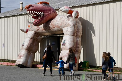 The entrance to the main hall at Redwood Acres Fairgrounds for T-Rex Planet. José Quezada—For the Times-Standard