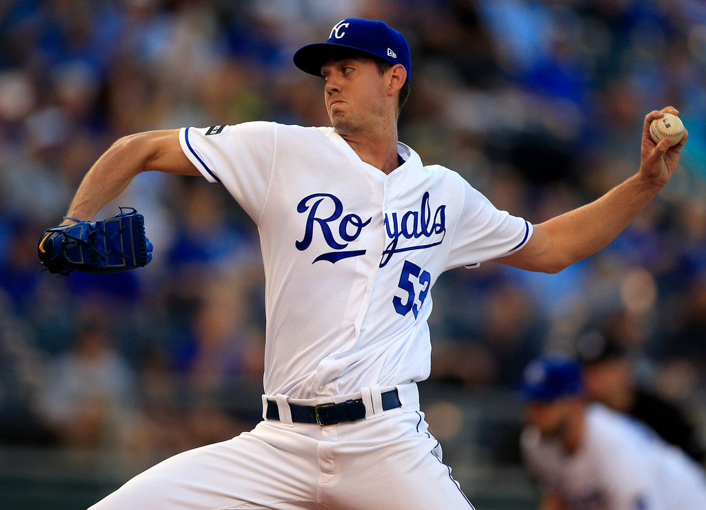 . Kansas City Royals starting pitcher Eric Skoglund delivers to a Detroit Tigers batter during the first inning of a baseball game at Kauffman Stadium in Kansas City, Mo., Tuesday, May 30, 2017. (AP Photo/Orlin Wagner)