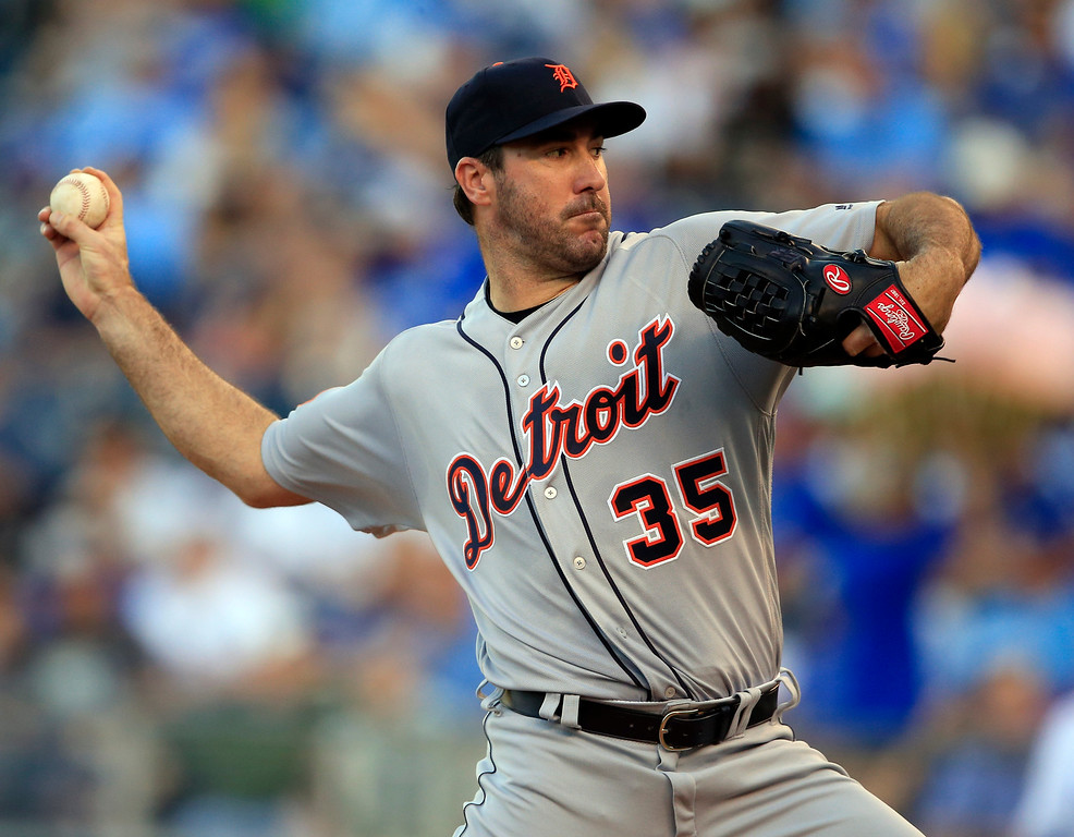 . Detroit Tigers starting pitcher Justin Verlander delivers to a Kansas City Royals batter during the first inning of a baseball game at Kauffman Stadium in Kansas City, Mo., Tuesday, May 30, 2017. (AP Photo/Orlin Wagner)