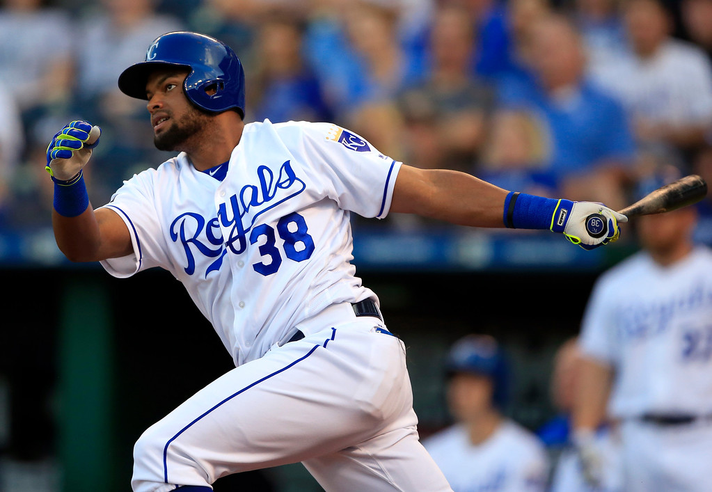 . Kansas City Royals\' Jorge Bonifacio hits a double off Detroit Tigers starting pitcher Justin Verlander during the second inning of a baseball game at Kauffman Stadium in Kansas City, Mo., Tuesday, May 30, 2017. (AP Photo/Orlin Wagner)