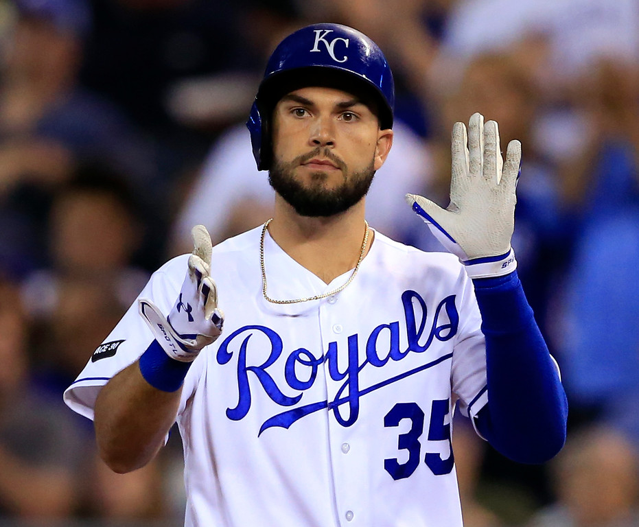. Kansas City Royals\' Eric Hosmer claps after hitting an RBI single off Detroit Tigers starting pitcher Justin Verlander during the sixth inning of a baseball game at Kauffman Stadium in Kansas City, Mo., Tuesday, May 30, 2017. (AP Photo/Orlin Wagner)