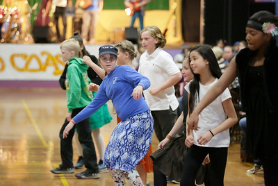 Shaun Walker — The Times-Standard  Arcata Elementary School fifth-graders dance during the kids concert.